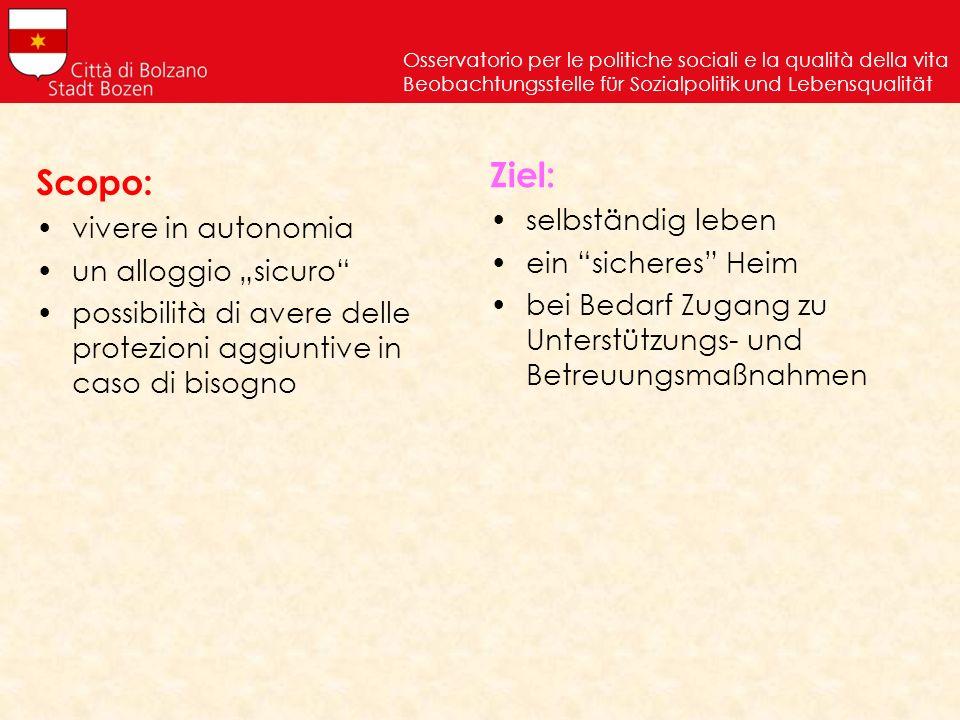 Osservatorio per le politiche sociali e la qualità della vita Beobachtungsstelle für Sozialpolitik und Lebensqualität Scopo: vivere in autonomia un al