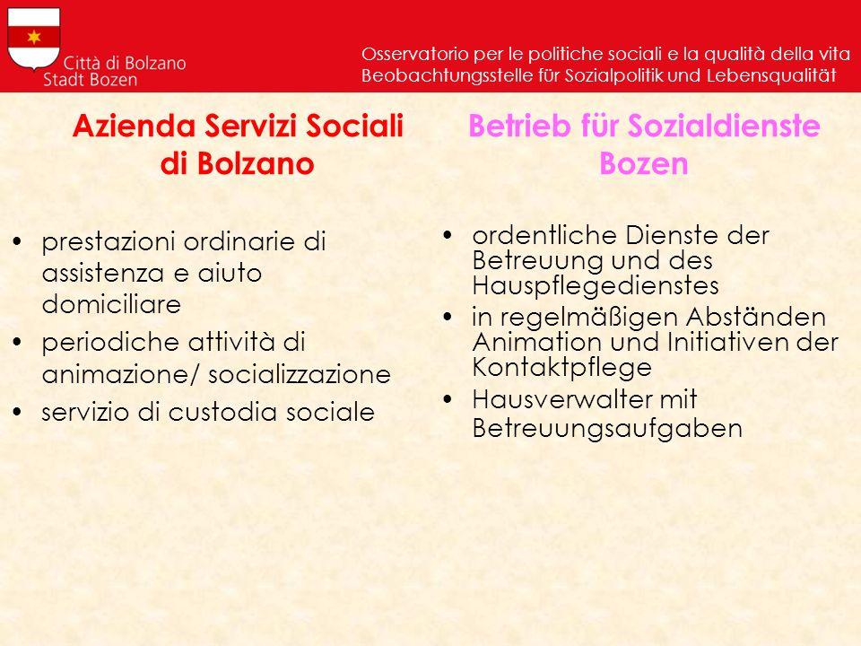 Azienda Servizi Sociali di Bolzano prestazioni ordinarie di assistenza e aiuto domiciliare periodiche attività di animazione/ socializzazione servizio