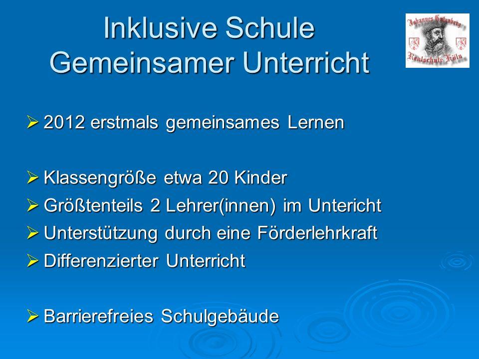 Inklusive Schule Gemeinsamer Unterricht 2012 erstmals gemeinsames Lernen 2012 erstmals gemeinsames Lernen Klassengröße etwa 20 Kinder Klassengröße etw