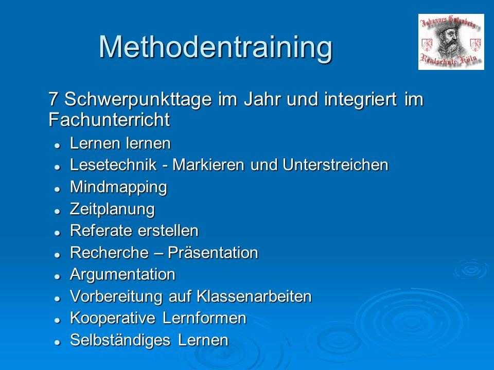 Methodentraining 7 Schwerpunkttage im Jahr und integriert im Fachunterricht Lernen lernen Lernen lernen Lesetechnik - Markieren und Unterstreichen Les