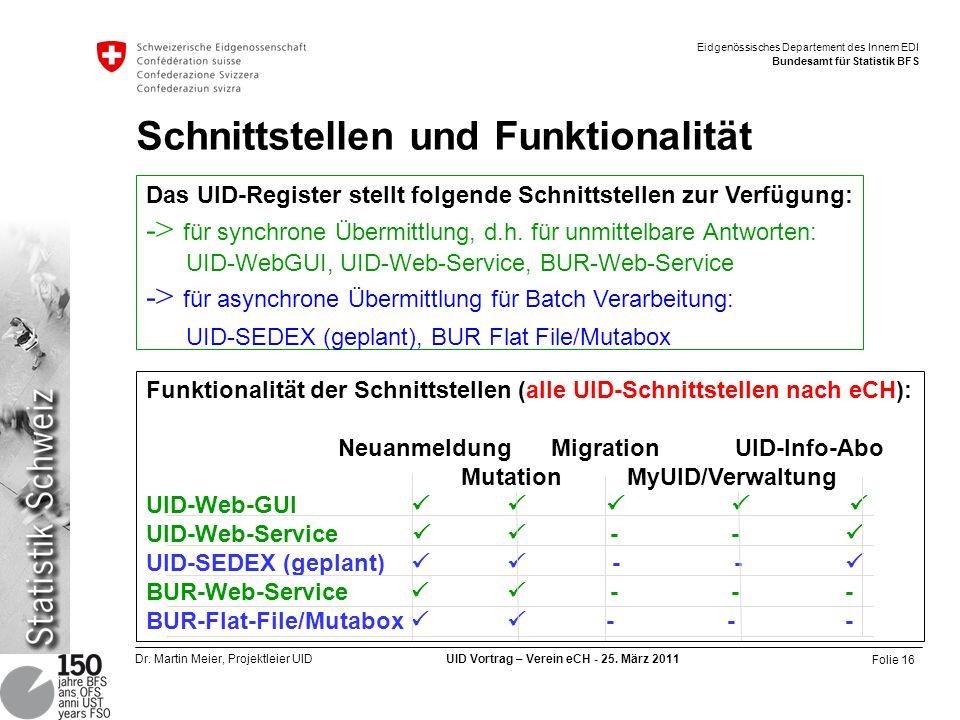 Folie 16 Dr. Martin Meier, Projektleier UID UID Vortrag – Verein eCH - 25. März 2011 Eidgenössisches Departement des Innern EDI Bundesamt für Statisti