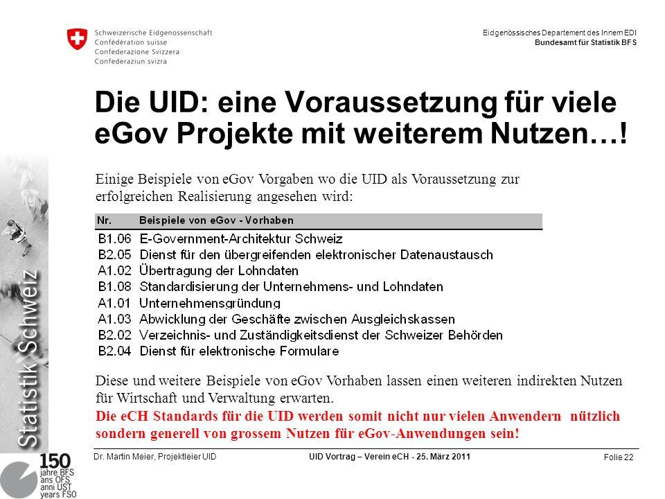 Folie 22 Dr. Martin Meier, Projektleier UID UID Vortrag – Verein eCH - 25. März 2011 Eidgenössisches Departement des Innern EDI Bundesamt für Statisti