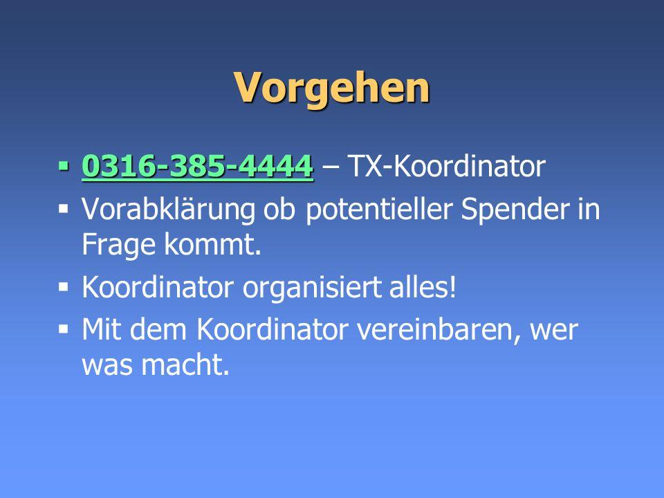 Vorgehen 0316-385-4444 0316-385-4444 – TX-Koordinator Vorabklärung ob potentieller Spender in Frage kommt. Koordinator organisiert alles! Mit dem Koor