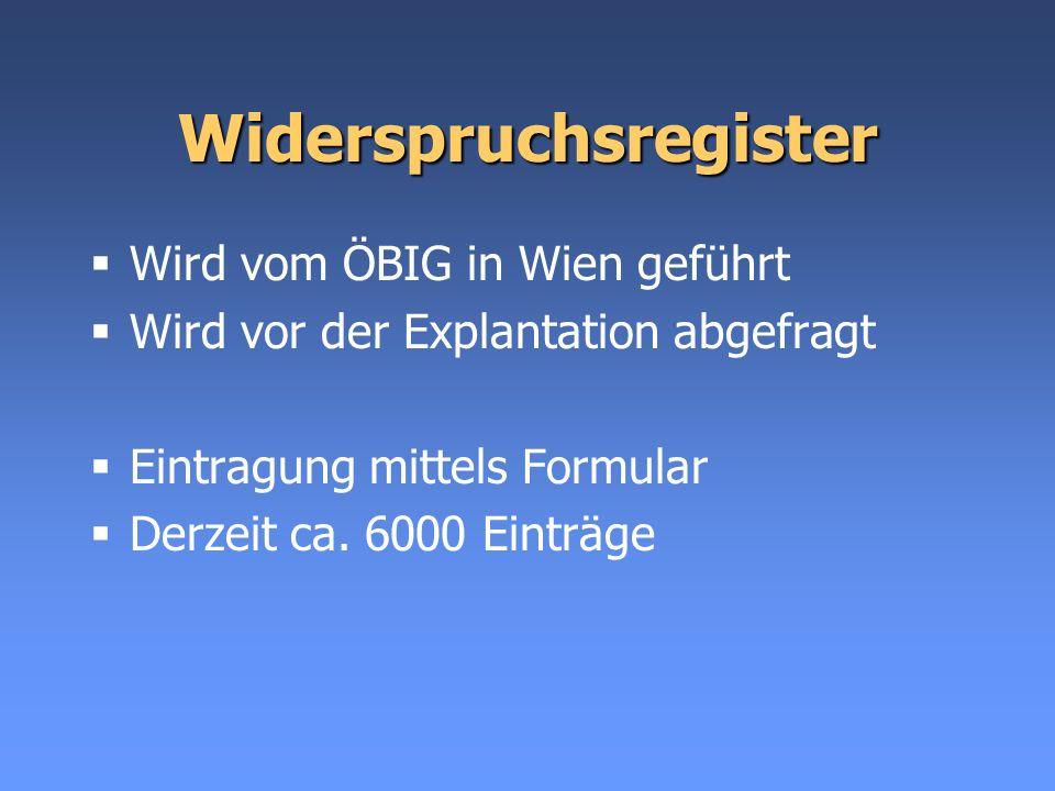 Widerspruchsregister Wird vom ÖBIG in Wien geführt Wird vor der Explantation abgefragt Eintragung mittels Formular Derzeit ca. 6000 Einträge