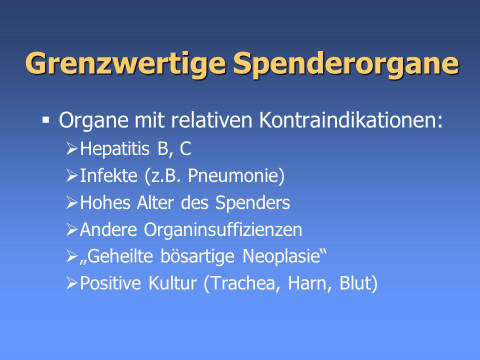 Grenzwertige Spenderorgane Organe mit relativen Kontraindikationen: Hepatitis B, C Infekte (z.B. Pneumonie) Hohes Alter des Spenders Andere Organinsuf