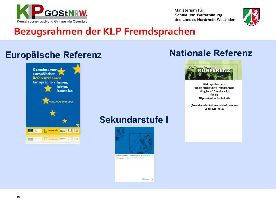 Bezugsrahmen der KLP Fremdsprachen Nationale Referenz Europäische Referenz Sekundarstufe I 15