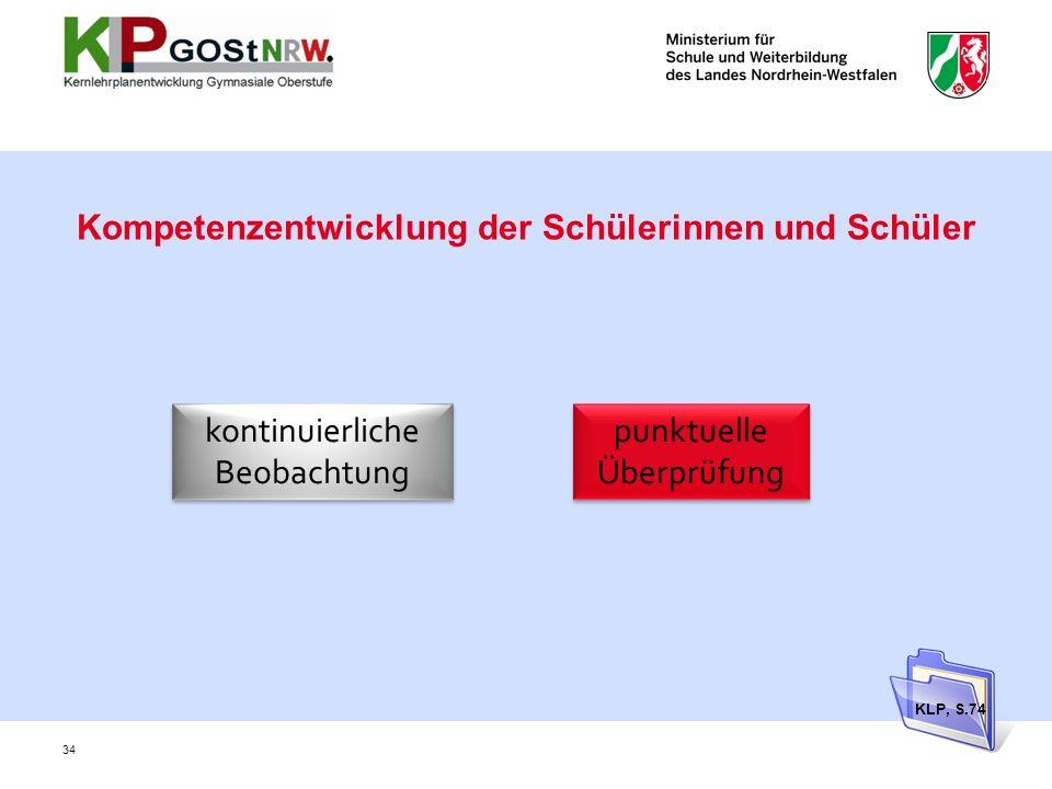 Kompetenzentwicklung der Schülerinnen und Schüler kontinuierliche Beobachtung kontinuierliche Beobachtung punktuelle Überprüfung KLP, S.74 34