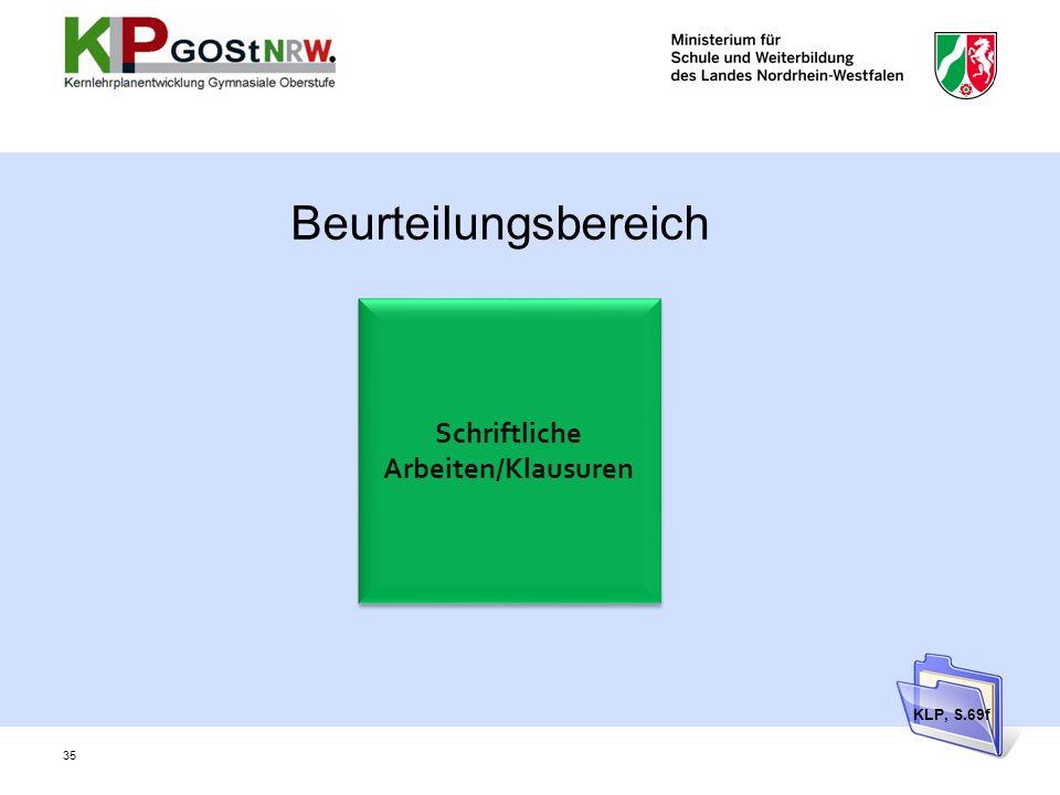 Schriftliche Arbeiten/Klausuren Beurteilungsbereich KLP, S.69f 35