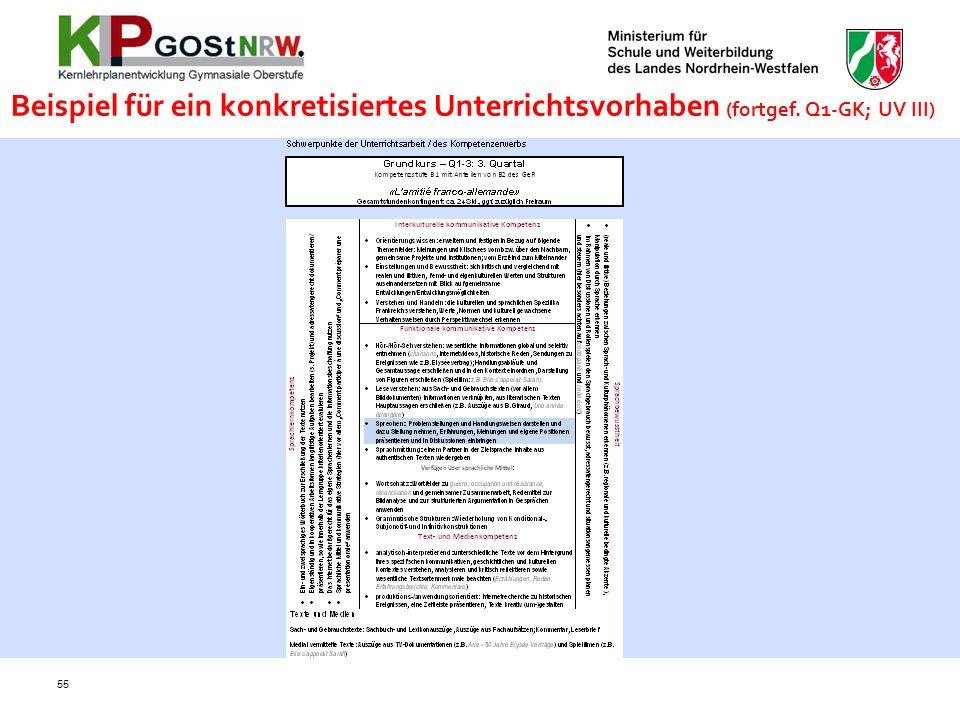 Beispiel für ein konkretisiertes Unterrichtsvorhaben (fortgef. Q1-GK; UV III) 55
