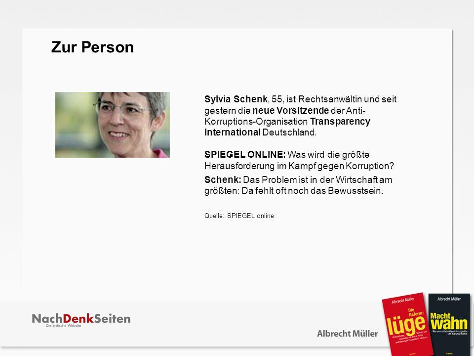 Sylvia Schenk, 55, ist Rechtsanwältin und seit gestern die neue Vorsitzende der Anti- Korruptions-Organisation Transparency International Deutschland.