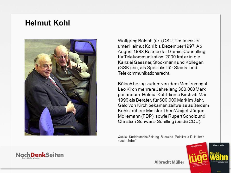 Wolfgang Bötsch (re.),CSU, Postminister unter Helmut Kohl bis Dezember 1997. Ab August 1998 Berater der Gemini Consulting für Telekommunikation. 2000