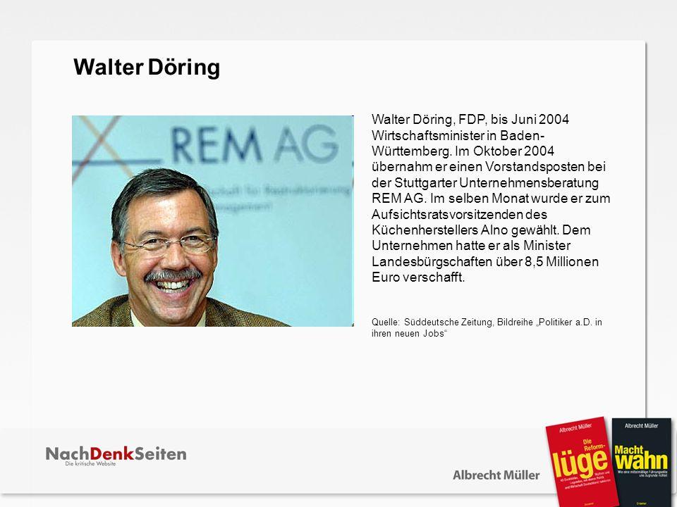 Walter Döring, FDP, bis Juni 2004 Wirtschaftsminister in Baden- Württemberg. Im Oktober 2004 übernahm er einen Vorstandsposten bei der Stuttgarter Unt