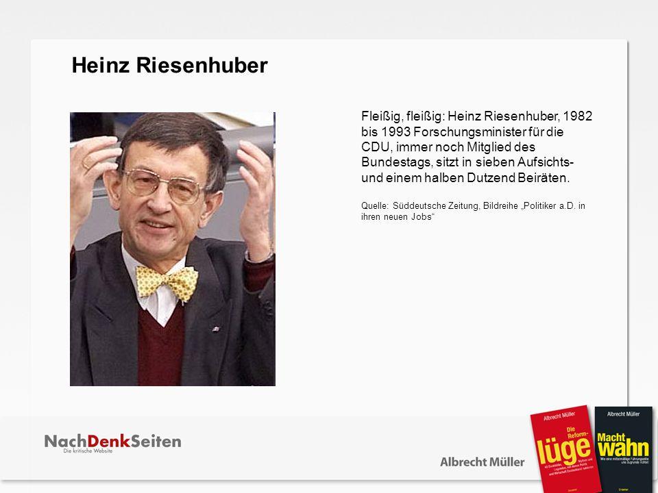 Fleißig, fleißig: Heinz Riesenhuber, 1982 bis 1993 Forschungsminister für die CDU, immer noch Mitglied des Bundestags, sitzt in sieben Aufsichts- und