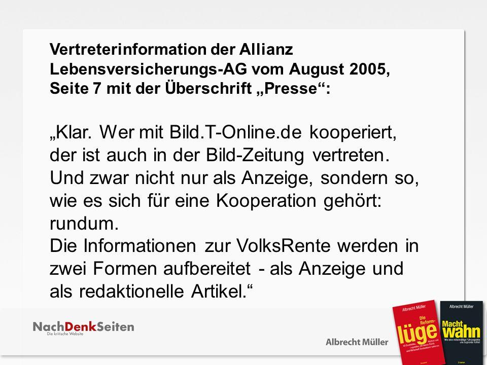 Vertreterinformation der Allianz Lebensversicherungs-AG vom August 2005, Seite 7 mit der Überschrift Presse: Klar. Wer mit Bild.T-Online.de kooperiert