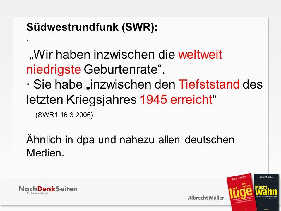 Südwestrundfunk (SWR): · Wir haben inzwischen die weltweit niedrigste Geburtenrate. · Sie habe inzwischen den Tiefststand des letzten Kriegsjahres 194