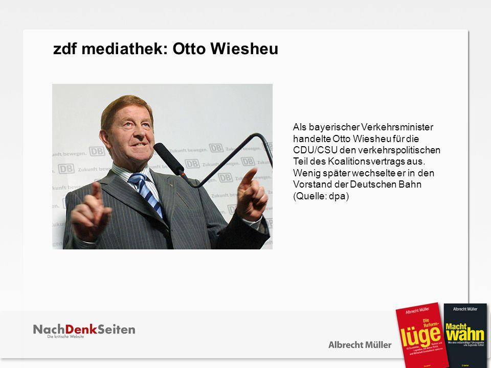 Als bayerischer Verkehrsminister handelte Otto Wiesheu für die CDU/CSU den verkehrspolitischen Teil des Koalitionsvertrags aus. Wenig später wechselte