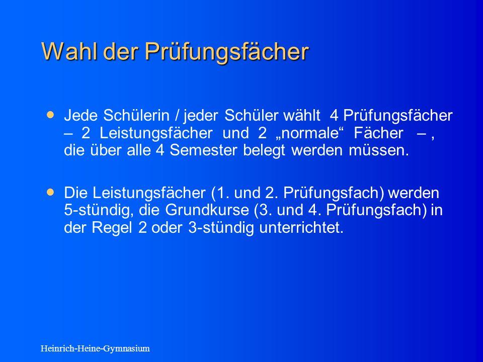 Heinrich-Heine-Gymnasium Wahl der Prüfungsfächer Jede Schülerin / jeder Schüler wählt 4 Prüfungsfächer – 2 Leistungsfächer und 2 normale Fächer –, die über alle 4 Semester belegt werden müssen.
