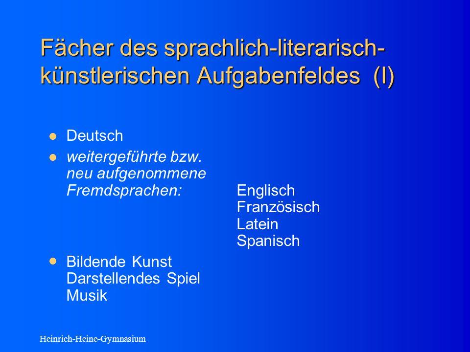 Heinrich-Heine-Gymnasium Fächer des sprachlich-literarisch- künstlerischen Aufgabenfeldes (I) Deutsch weitergeführte bzw.
