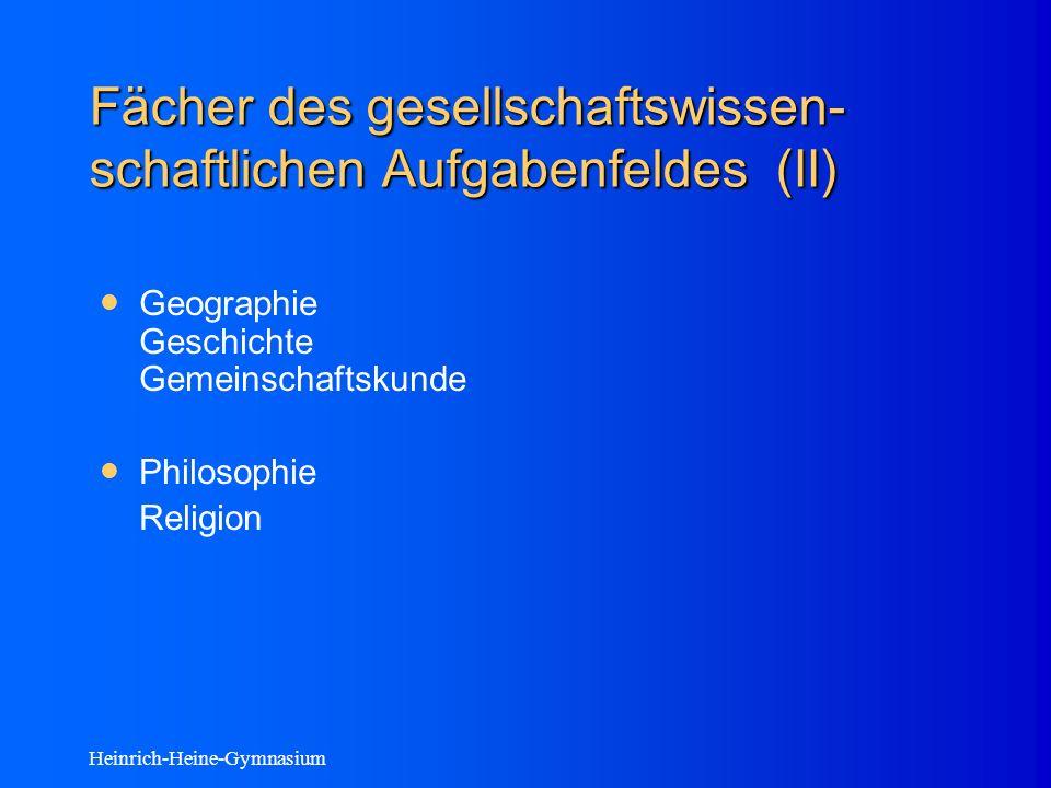 Heinrich-Heine-Gymnasium Fächer des gesellschaftswissen- schaftlichen Aufgabenfeldes (II) Geographie Geschichte Gemeinschaftskunde Philosophie Religion