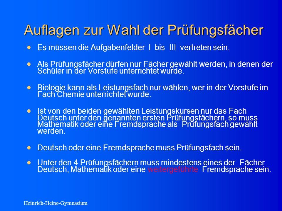 Heinrich-Heine-Gymnasium Auflagen zur Wahl der Prüfungsfächer Es müssen die Aufgabenfelder I bis III vertreten sein.