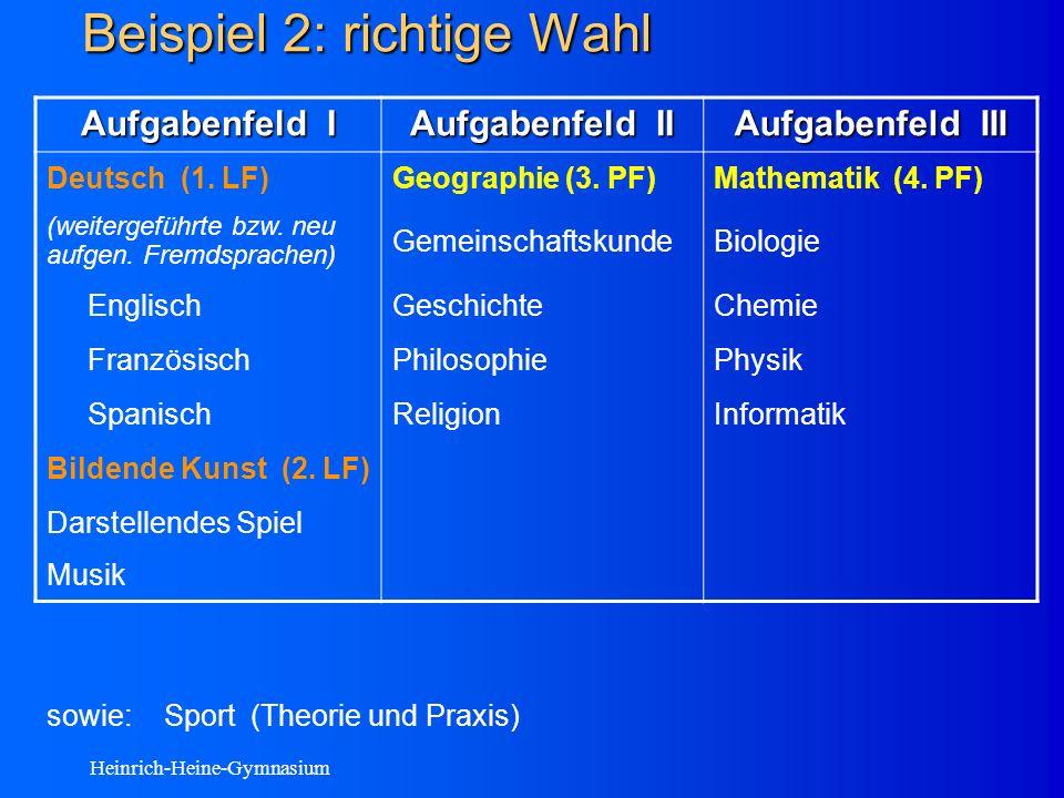 Heinrich-Heine-Gymnasium Beispiel 2: richtige Wahl Aufgabenfeld I Aufgabenfeld II Aufgabenfeld III Deutsch (1.