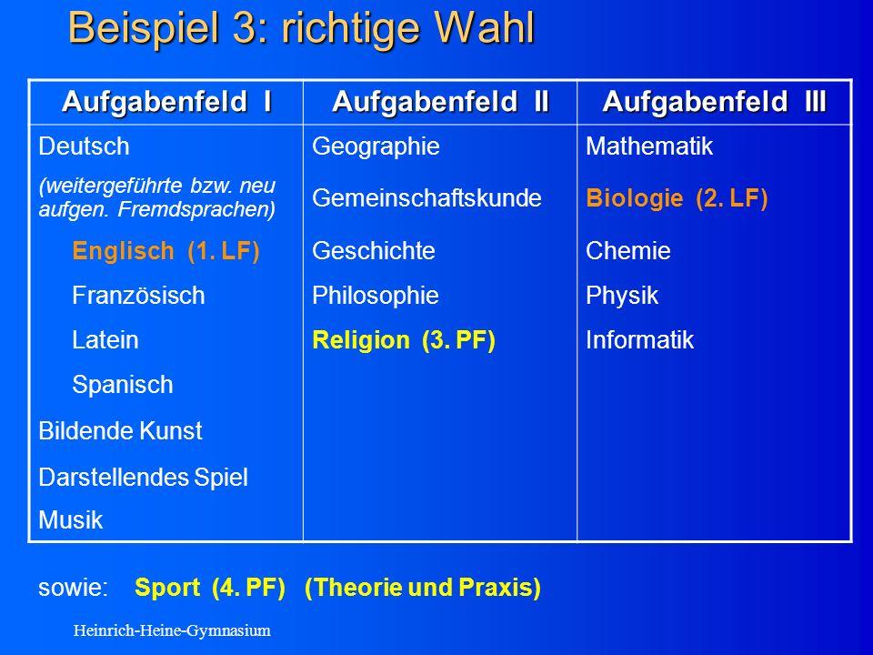 Heinrich-Heine-Gymnasium Beispiel 3: richtige Wahl Aufgabenfeld I Aufgabenfeld II Aufgabenfeld III DeutschGeographieMathematik (weitergeführte bzw.