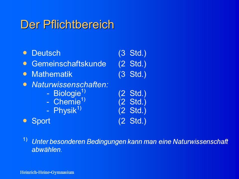 Heinrich-Heine-Gymnasium Der Pflichtbereich Deutsch(3 Std.) Gemeinschaftskunde(2 Std.) Mathematik(3 Std.) Naturwissenschaften: - Biologie 1) (2 Std.) - Chemie 1) (2 Std.) - Physik 1) (2 Std.) Sport(2 Std.) 1) Unter besonderen Bedingungen kann man eine Naturwissenschaft abwählen.