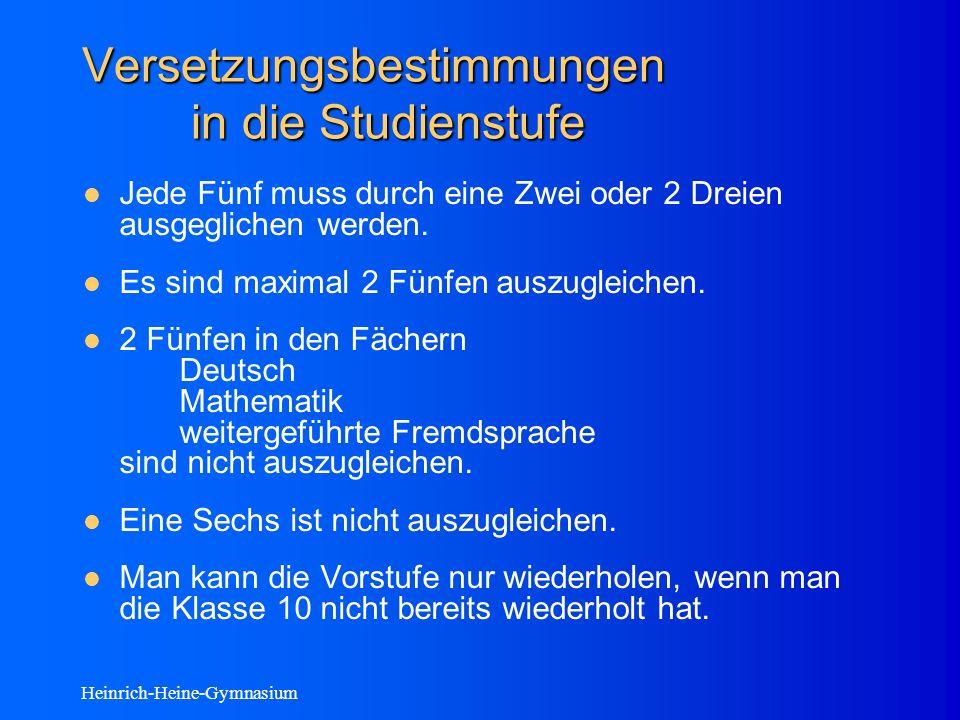 Heinrich-Heine-Gymnasium Versetzungsbestimmungen in die Studienstufe Jede Fünf muss durch eine Zwei oder 2 Dreien ausgeglichen werden.