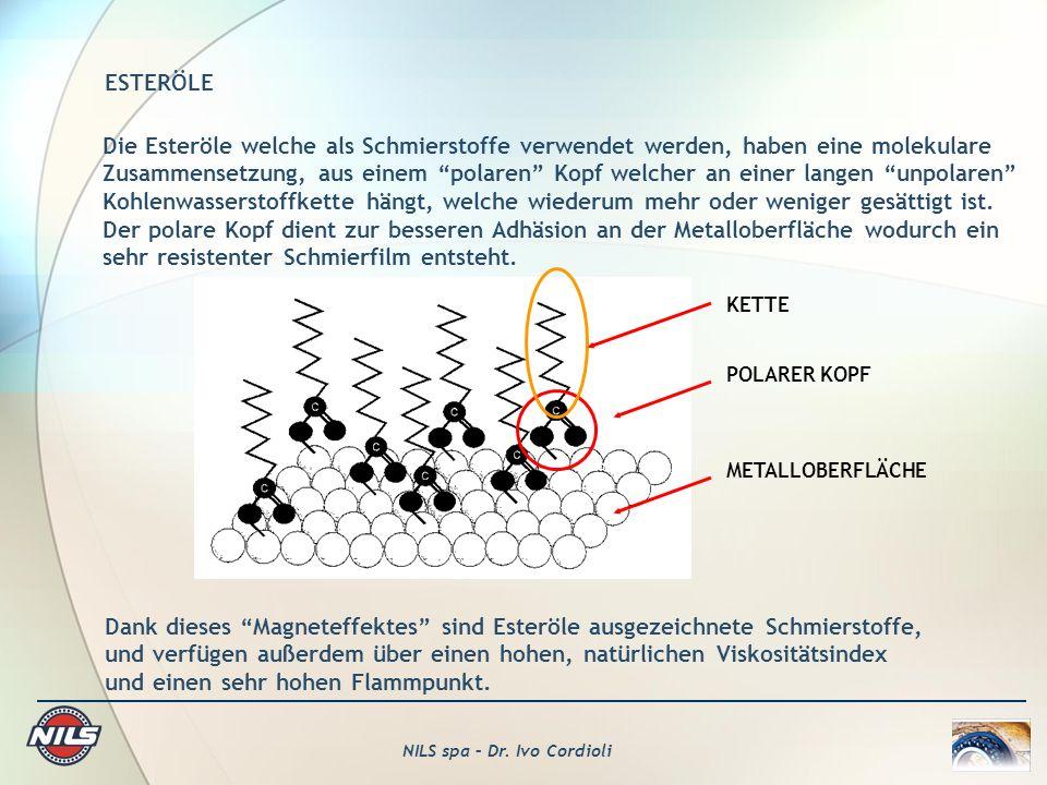 NILS spa – Dr. Ivo Cordioli ESTERÖLE Die Esteröle welche als Schmierstoffe verwendet werden, haben eine molekulare Zusammensetzung, aus einem polaren