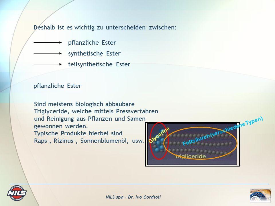 NILS spa – Dr. Ivo Cordioli Deshalb ist es wichtig zu unterscheiden zwischen: pflanzliche Ester synthetische Ester teilsynthetische Ester pflanzliche