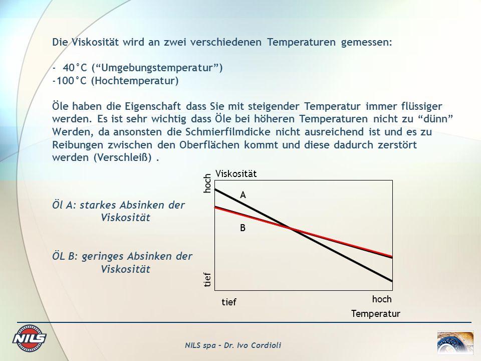 NILS spa – Dr. Ivo Cordioli Die Viskosität wird an zwei verschiedenen Temperaturen gemessen: - 40°C (Umgebungstemperatur) -100°C (Hochtemperatur) Öle