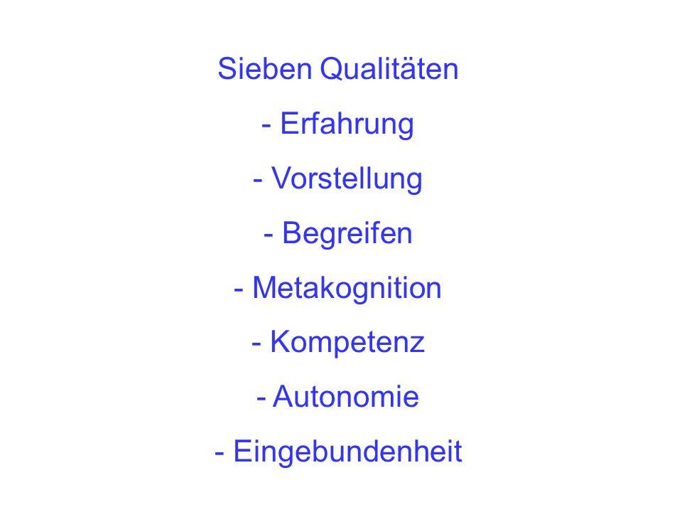 Sieben Qualitäten - Erfahrung - Vorstellung - Begreifen - Metakognition - Kompetenz - Autonomie - Eingebundenheit