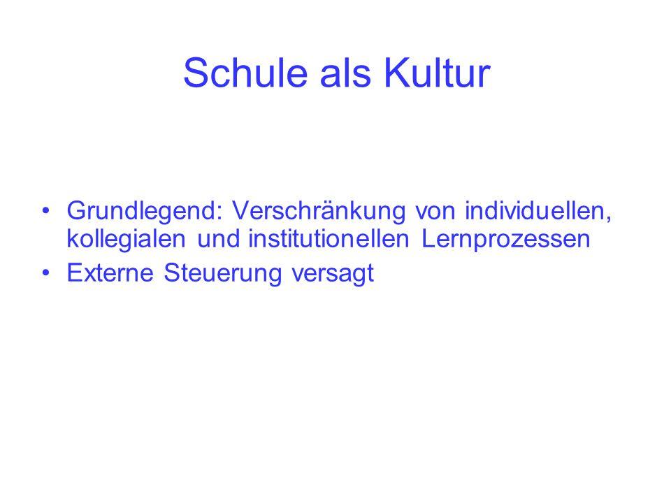 Grundlegend: Verschränkung von individuellen, kollegialen und institutionellen Lernprozessen Externe Steuerung versagt