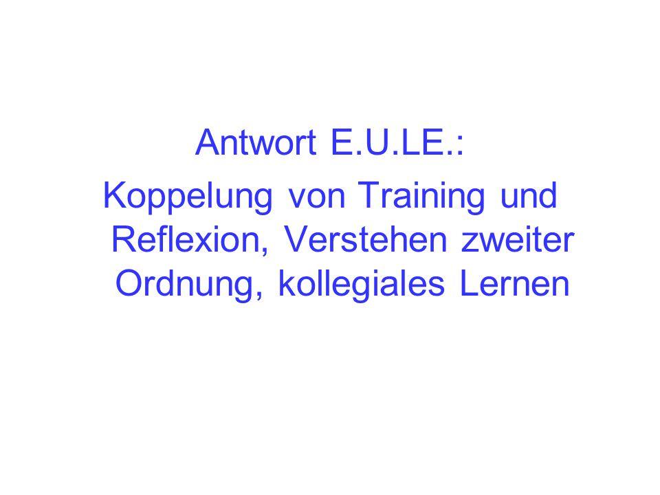 Antwort E.U.LE.: Koppelung von Training und Reflexion, Verstehen zweiter Ordnung, kollegiales Lernen