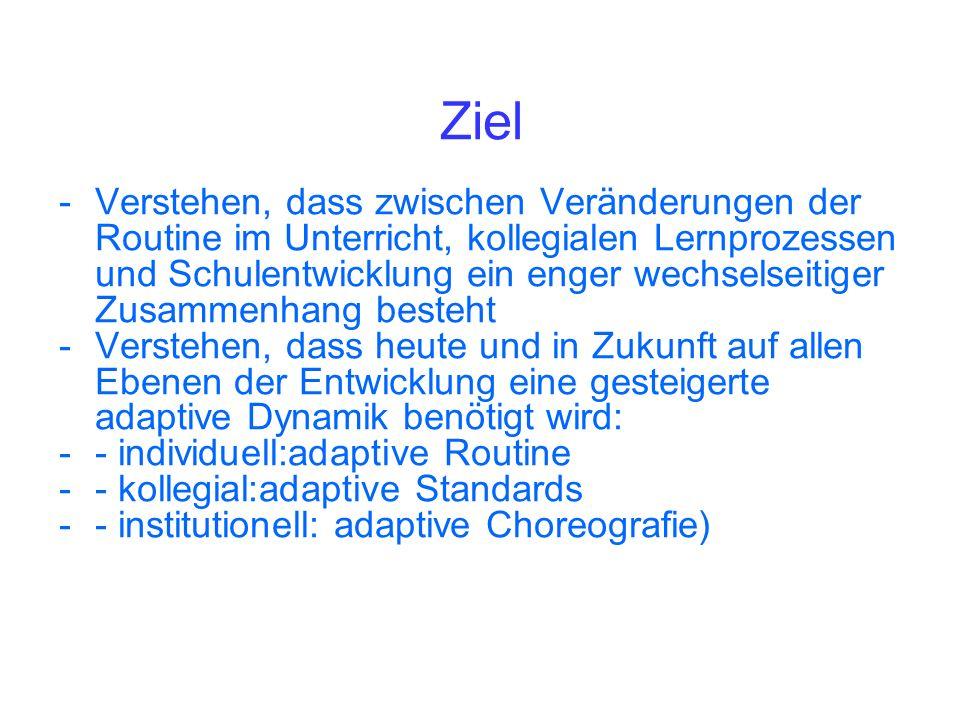 Kollegiales Lernen Individuell: adaptive Routinen Kollegial: adaptive Standards Institutionell: adaptive Choreografie Profession