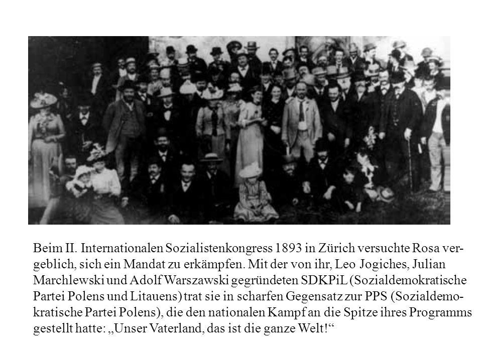 Beim II. Internationalen Sozialistenkongress 1893 in Zürich versuchte Rosa ver- geblich, sich ein Mandat zu erkämpfen. Mit der von ihr, Leo Jogiches,