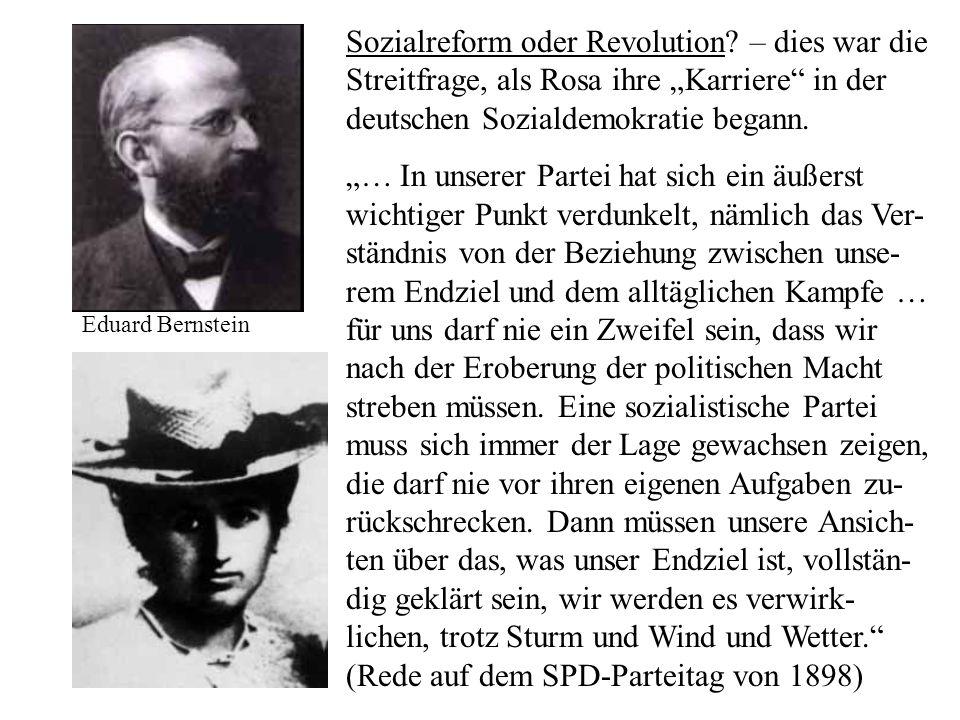 Sozialreform oder Revolution? – dies war die Streitfrage, als Rosa ihre Karriere in der deutschen Sozialdemokratie begann. … In unserer Partei hat sic