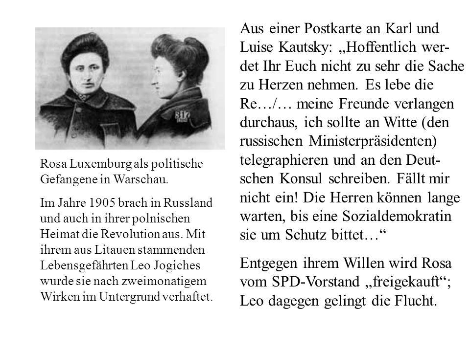 Rosa Luxemburg als politische Gefangene in Warschau. Im Jahre 1905 brach in Russland und auch in ihrer polnischen Heimat die Revolution aus. Mit ihrem