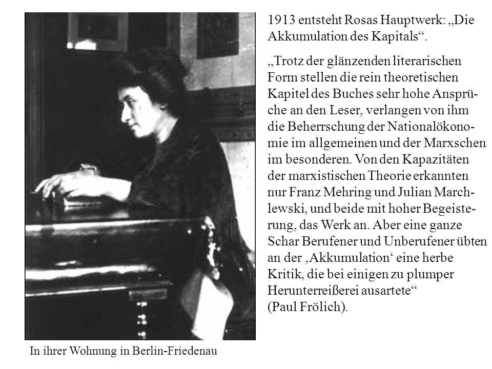 1913 entsteht Rosas Hauptwerk: Die Akkumulation des Kapitals. Trotz der glänzenden literarischen Form stellen die rein theoretischen Kapitel des Buche