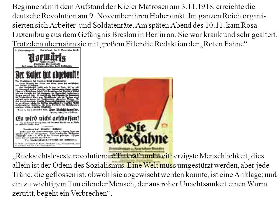 Beginnend mit dem Aufstand der Kieler Matrosen am 3.11.1918, erreichte die deutsche Revolution am 9. November ihren Höhepunkt. Im ganzen Reich organi-