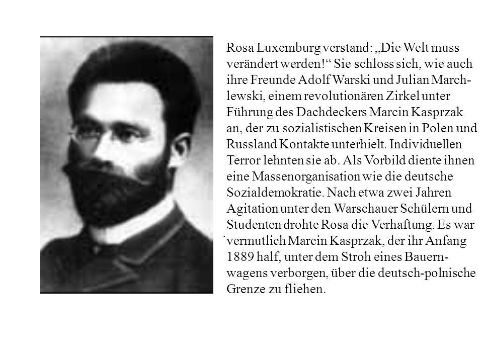 . Rosa Luxemburg verstand: Die Welt muss verändert werden! Sie schloss sich, wie auch ihre Freunde Adolf Warski und Julian March- lewski, einem revolu