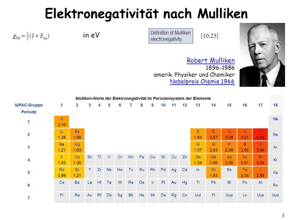 8 Elektronegativität nach Mulliken in eV Robert Mulliken 1896-1986 amerik.