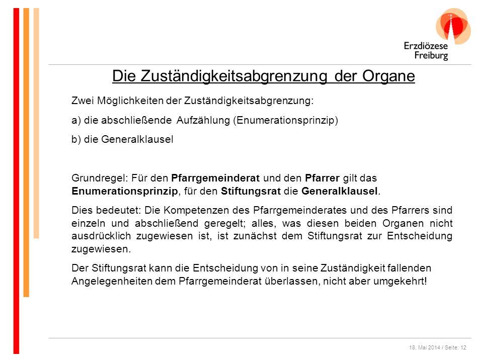 18. Mai 2014 / Seite: 12 Die Zuständigkeitsabgrenzung der Organe Zwei Möglichkeiten der Zuständigkeitsabgrenzung: a) die abschließende Aufzählung (Enu