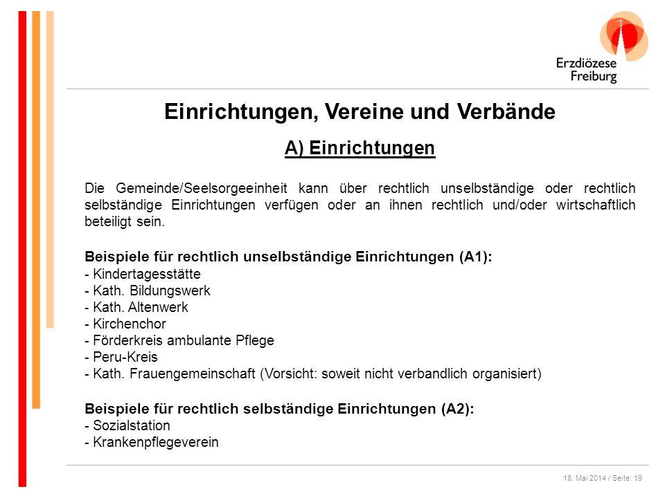 18. Mai 2014 / Seite: 19 Einrichtungen, Vereine und Verbände Die Gemeinde/Seelsorgeeinheit kann über rechtlich unselbständige oder rechtlich selbständ