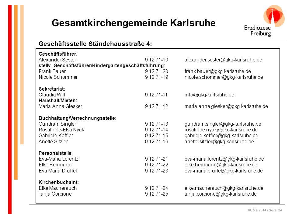 18. Mai 2014 / Seite: 24 Gesamtkirchengemeinde Karlsruhe Geschäftsstelle Ständehausstraße 4: Geschäftsführer: Alexander Sester9 12 71-10alexander.sest