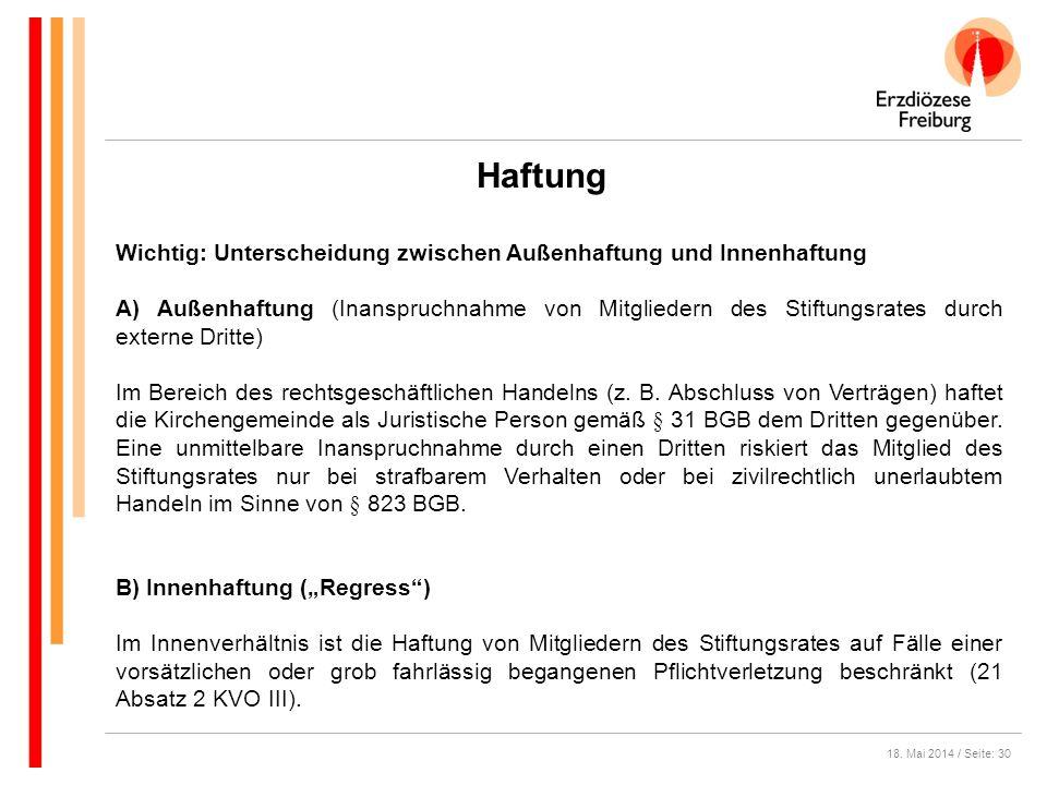 18. Mai 2014 / Seite: 30 Haftung Wichtig: Unterscheidung zwischen Außenhaftung und Innenhaftung A) Außenhaftung (Inanspruchnahme von Mitgliedern des S
