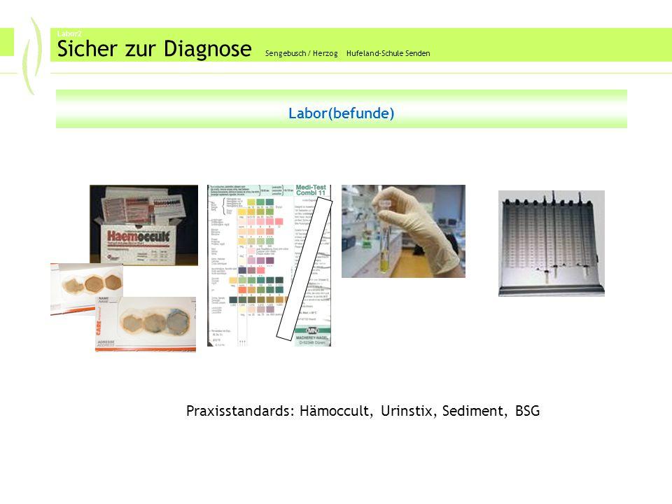 Labor2 Sicher zur Diagnose Sengebusch / Herzog Hufeland-Schule Senden Labor(befunde) Praxisstandards: Hämoccult, Urinstix, Sediment, BSG