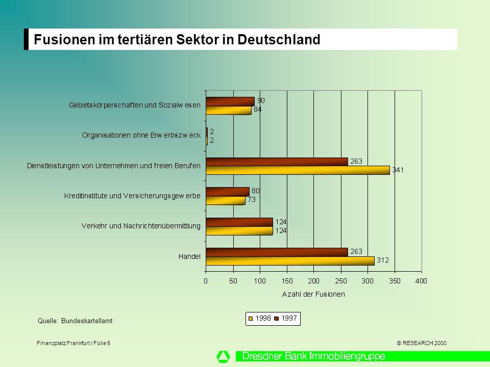 © RESEARCH 2000 Finanzplatz Frankfurt / Folie 5 Fusionen im tertiären Sektor in Deutschland Quelle: Bundeskartellamt