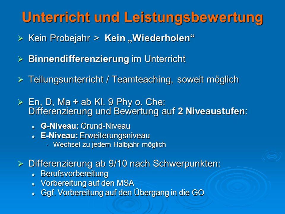 Neue Fächer WAT (Wirtschaft – Arbeit – Technik) WAT (Wirtschaft – Arbeit – Technik) Duales Lernen, u.a.