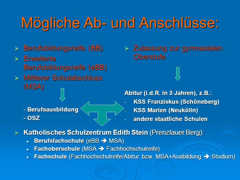 Mögliche Ab- und Anschlüsse: Berufsbildungsreife (BB) Berufsbildungsreife (BB) Erweiterte Berufsbildungsreife (eBB) Erweiterte Berufsbildungsreife (eB